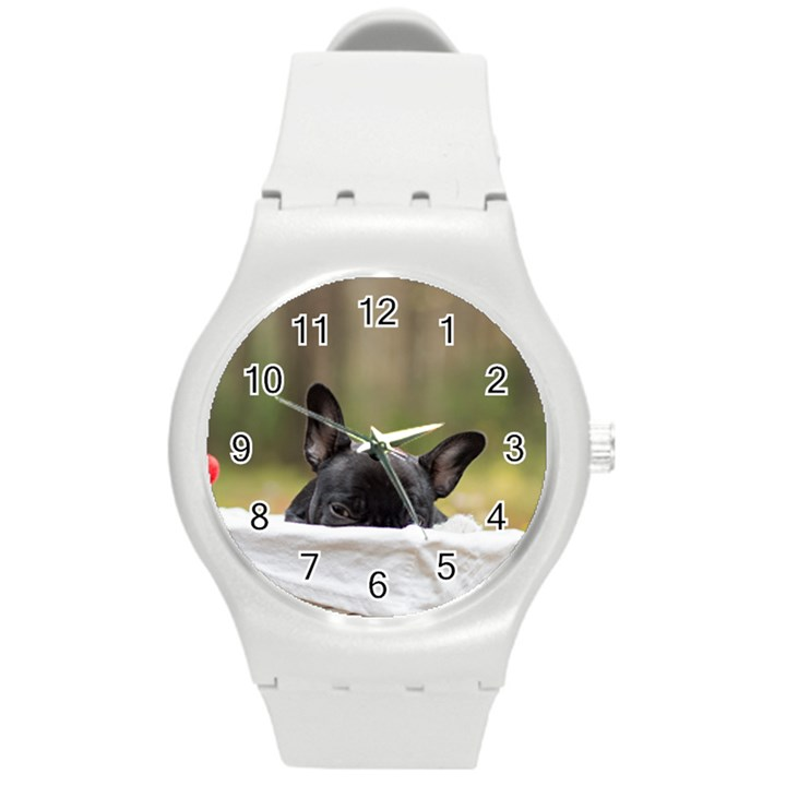 French Bulldog Peeking Puppy Round Plastic Sport Watch (M)
