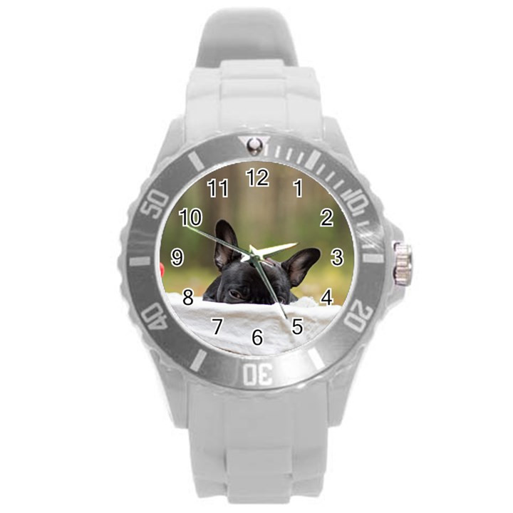 French Bulldog Peeking Puppy Round Plastic Sport Watch (L)