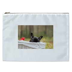 French Bulldog Peeking Puppy Cosmetic Bag (XXL)