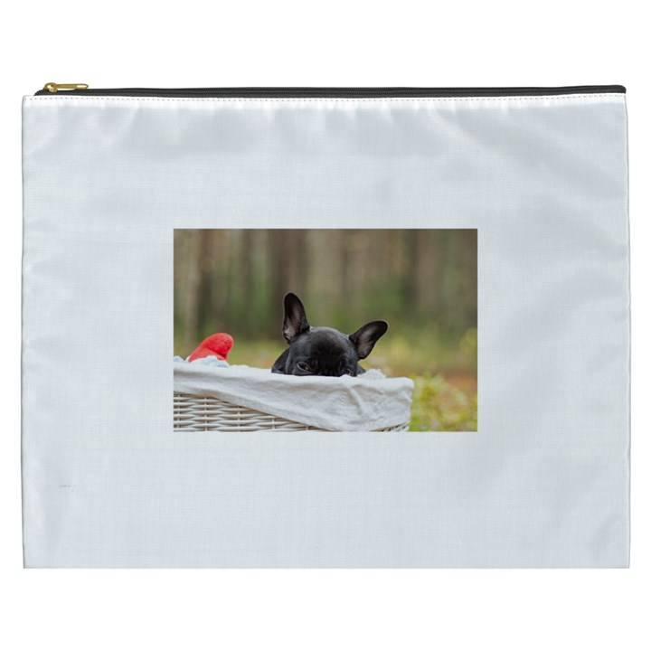 French Bulldog Peeking Puppy Cosmetic Bag (XXXL)