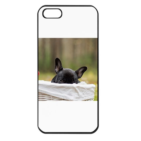 French Bulldog Peeking Puppy Apple iPhone 5 Seamless Case (Black)