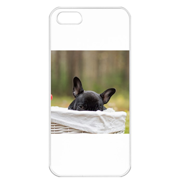 French Bulldog Peeking Puppy Apple iPhone 5 Seamless Case (White)