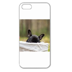 French Bulldog Peeking Puppy Apple Seamless iPhone 5 Case (Clear)