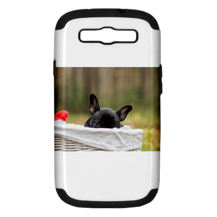 French Bulldog Peeking Puppy Samsung Galaxy S III Hardshell Case (PC+Silicone)
