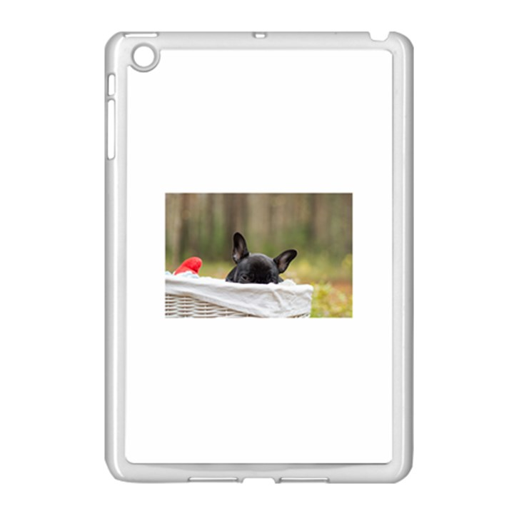 French Bulldog Peeking Puppy Apple iPad Mini Case (White)