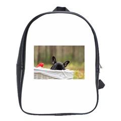 French Bulldog Peeking Puppy School Bags (XL)