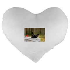 French Bulldog Peeking Puppy Large 19  Premium Heart Shape Cushions