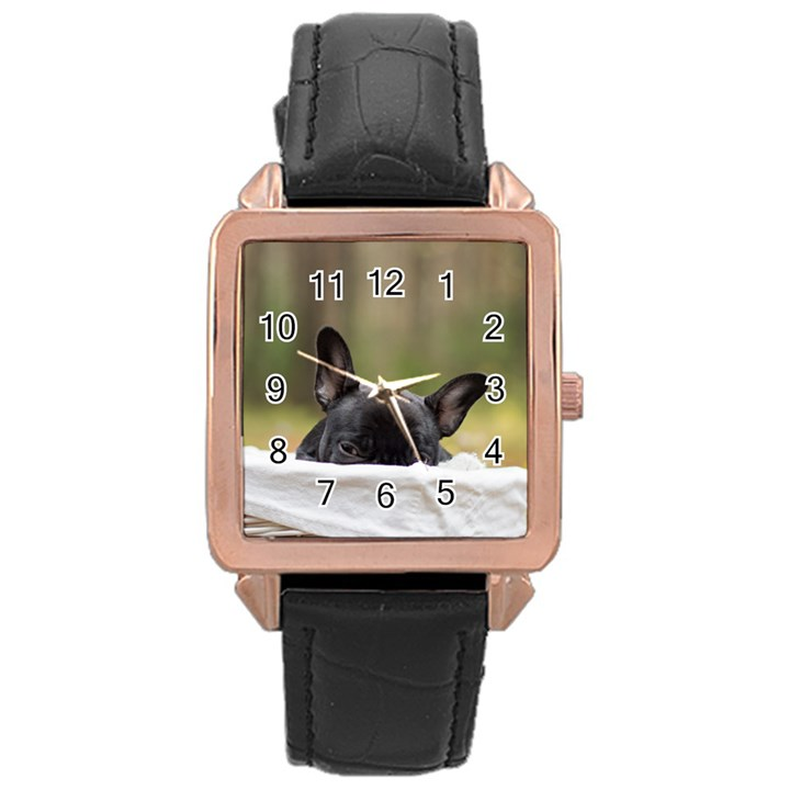 French Bulldog Peeking Puppy Rose Gold Leather Watch