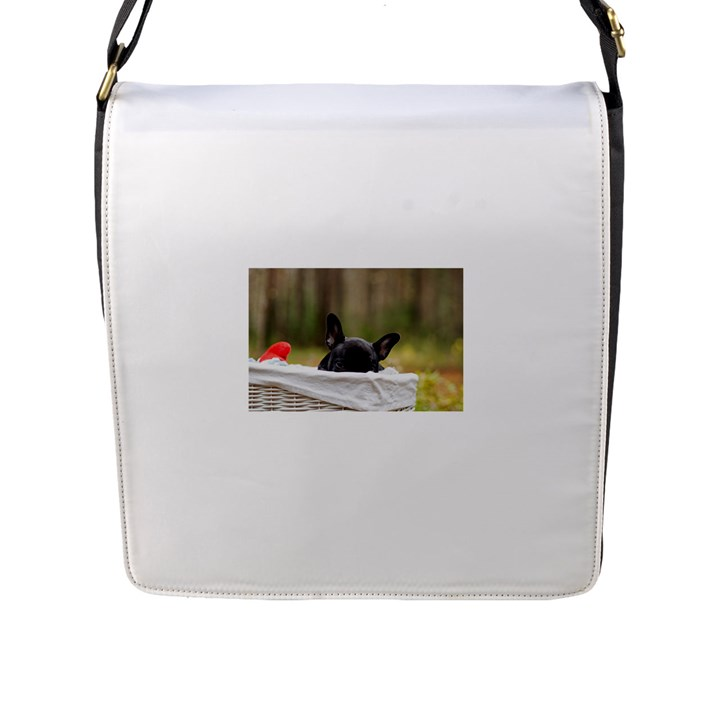 French Bulldog Peeking Puppy Flap Messenger Bag (L)