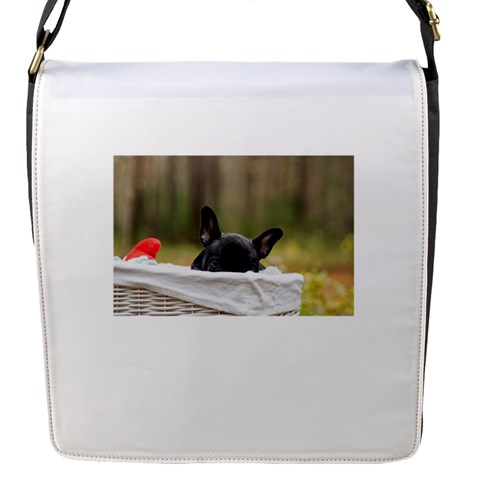 French Bulldog Peeking Puppy Flap Messenger Bag (S)