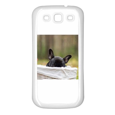 French Bulldog Peeking Puppy Samsung Galaxy S3 Back Case (White)