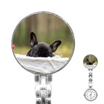 French Bulldog Peeking Puppy Stainless Steel Nurses Watch Front