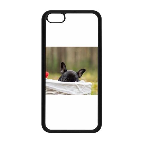 French Bulldog Peeking Puppy Apple iPhone 5C Seamless Case (Black)