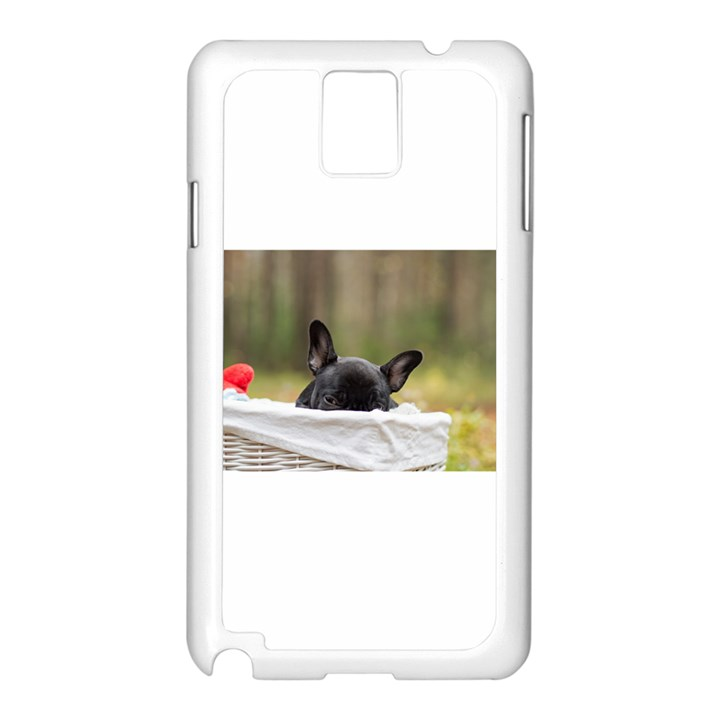 French Bulldog Peeking Puppy Samsung Galaxy Note 3 N9005 Case (White)