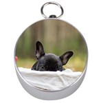 French Bulldog Peeking Puppy Silver Compasses Front