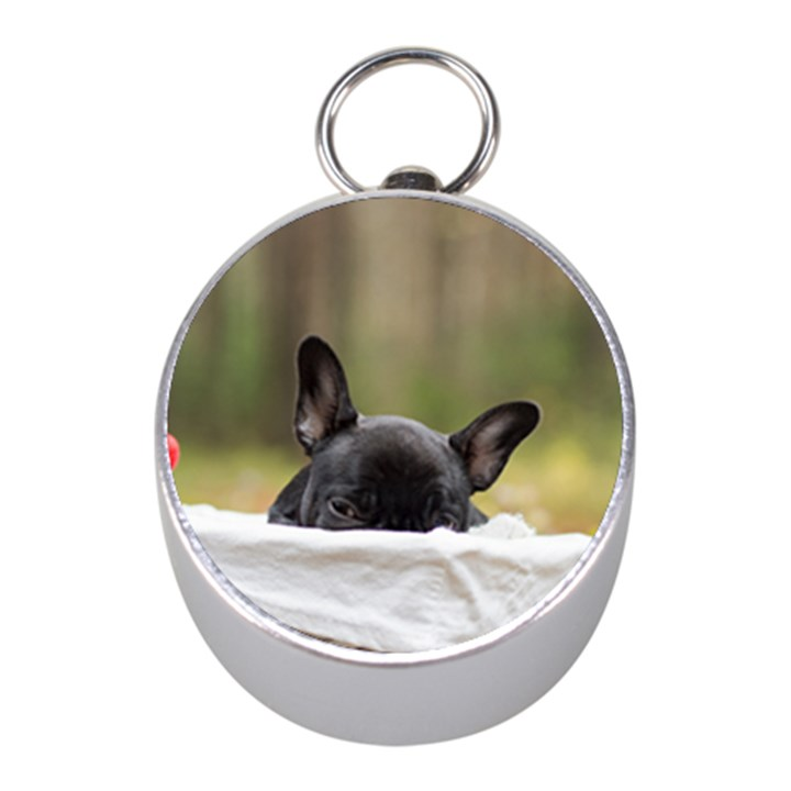 French Bulldog Peeking Puppy Mini Silver Compasses