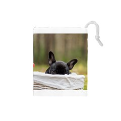 French Bulldog Peeking Puppy Drawstring Pouches (Small)