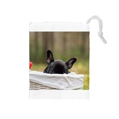 French Bulldog Peeking Puppy Drawstring Pouches (Medium)