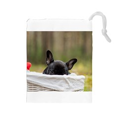 French Bulldog Peeking Puppy Drawstring Pouches (Large)