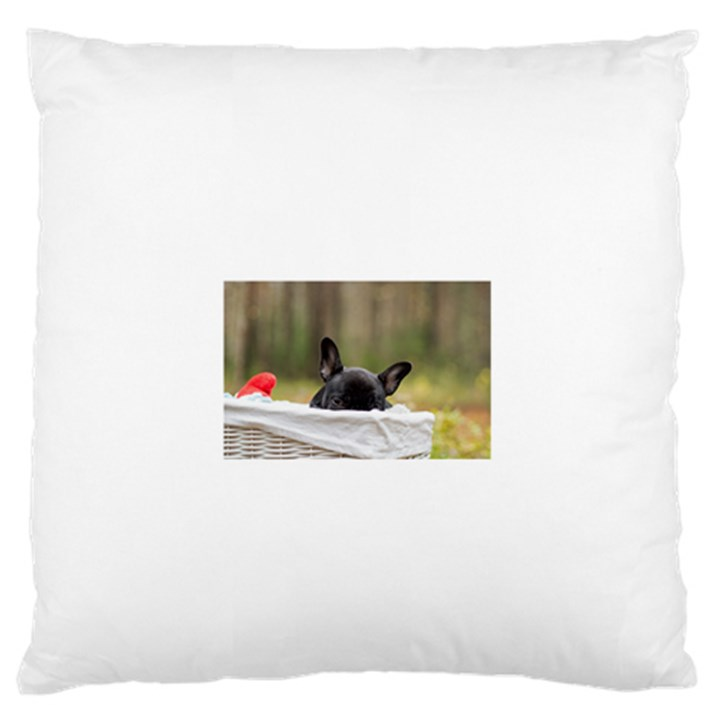French Bulldog Peeking Puppy Large Flano Cushion Case (One Side)