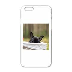 French Bulldog Peeking Puppy Apple iPhone 6/6S White Enamel Case