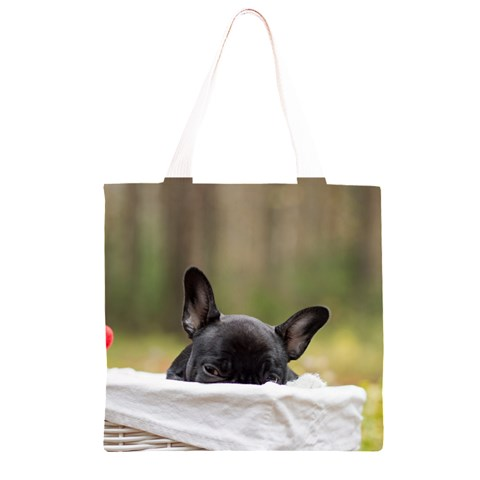 French Bulldog Peeking Puppy Grocery Light Tote Bag