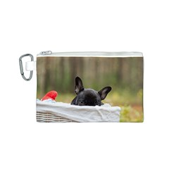 French Bulldog Peeking Puppy Canvas Cosmetic Bag (S)