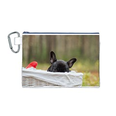 French Bulldog Peeking Puppy Canvas Cosmetic Bag (M)