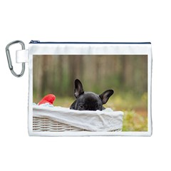 French Bulldog Peeking Puppy Canvas Cosmetic Bag (L)