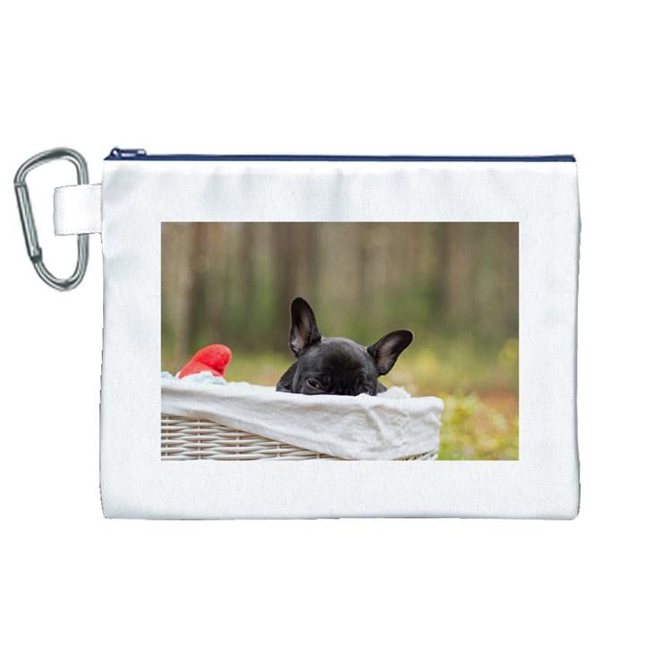 French Bulldog Peeking Puppy Canvas Cosmetic Bag (XL)