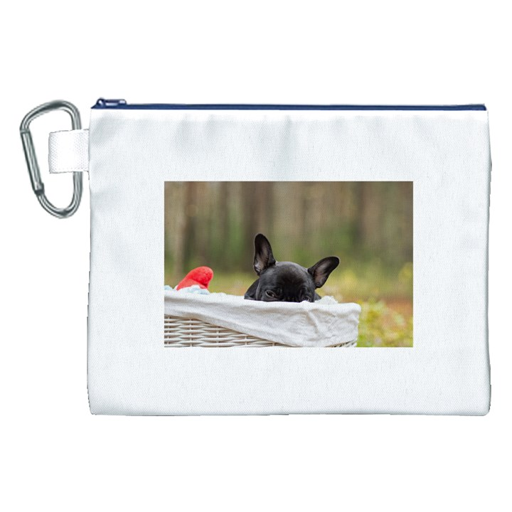 French Bulldog Peeking Puppy Canvas Cosmetic Bag (XXL)