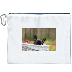 French Bulldog Peeking Puppy Canvas Cosmetic Bag (XXXL)