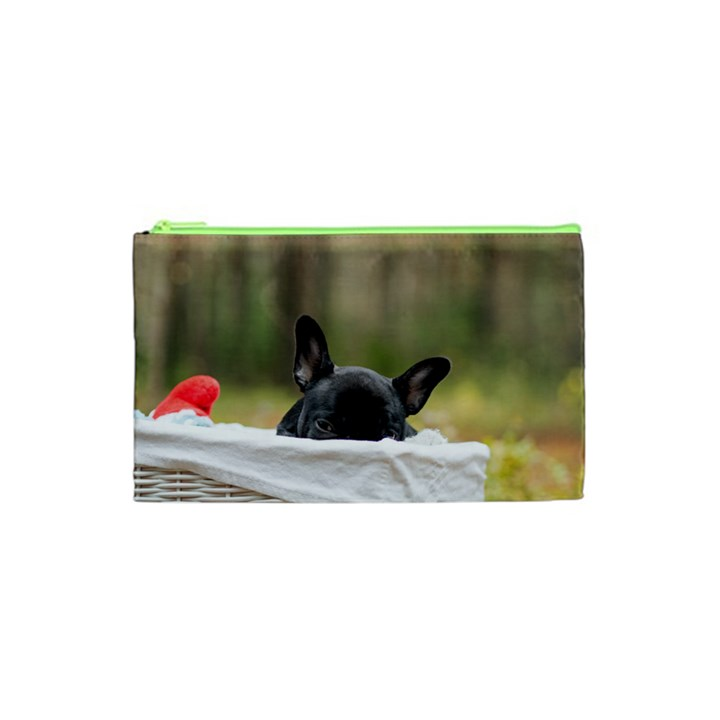 French Bulldog Peeking Puppy Cosmetic Bag (XS)