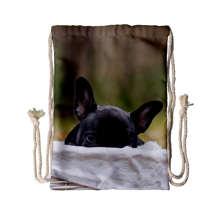 French Bulldog Peeking Puppy Drawstring Bag (Small)