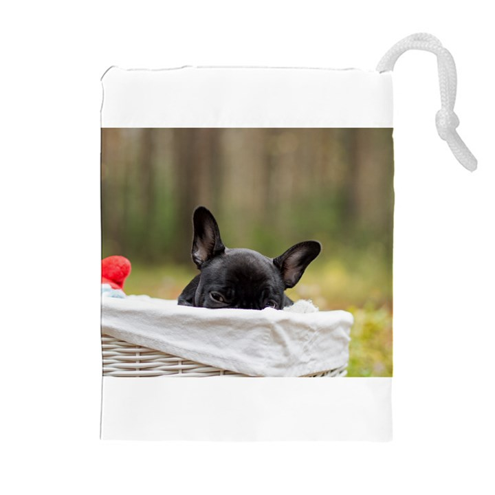 French Bulldog Peeking Puppy Drawstring Pouches (Extra Large)