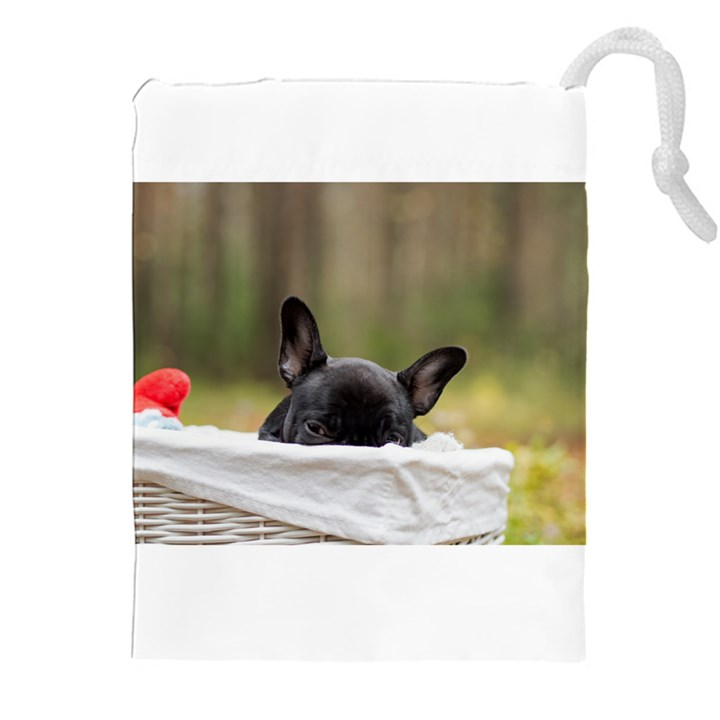 French Bulldog Peeking Puppy Drawstring Pouches (XXL)