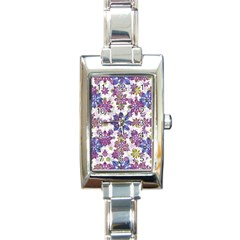 Stylized Floral Ornate Pattern Rectangle Italian Charm Watch