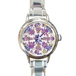 Stylized Floral Ornate Pattern Round Italian Charm Watch Front