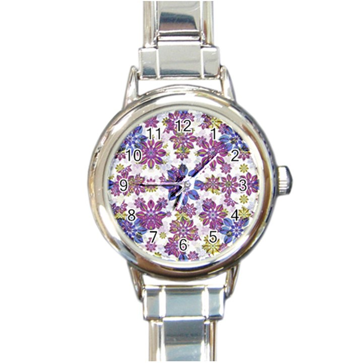 Stylized Floral Ornate Pattern Round Italian Charm Watch