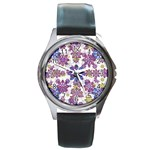 Stylized Floral Ornate Pattern Round Metal Watch Front