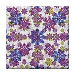 Stylized Floral Ornate Pattern Tile Coasters Front
