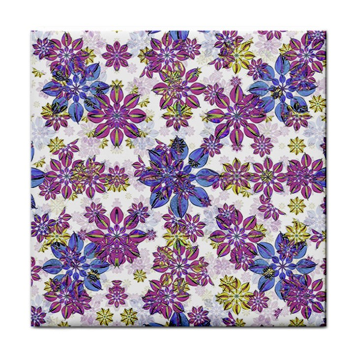 Stylized Floral Ornate Pattern Tile Coasters