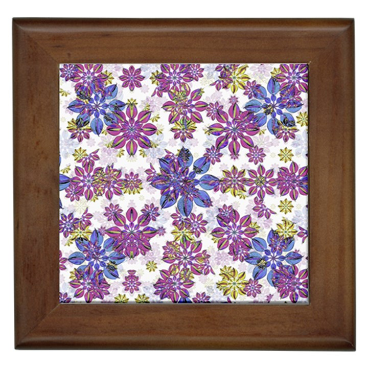 Stylized Floral Ornate Pattern Framed Tiles