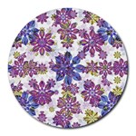 Stylized Floral Ornate Pattern Round Mousepads Front