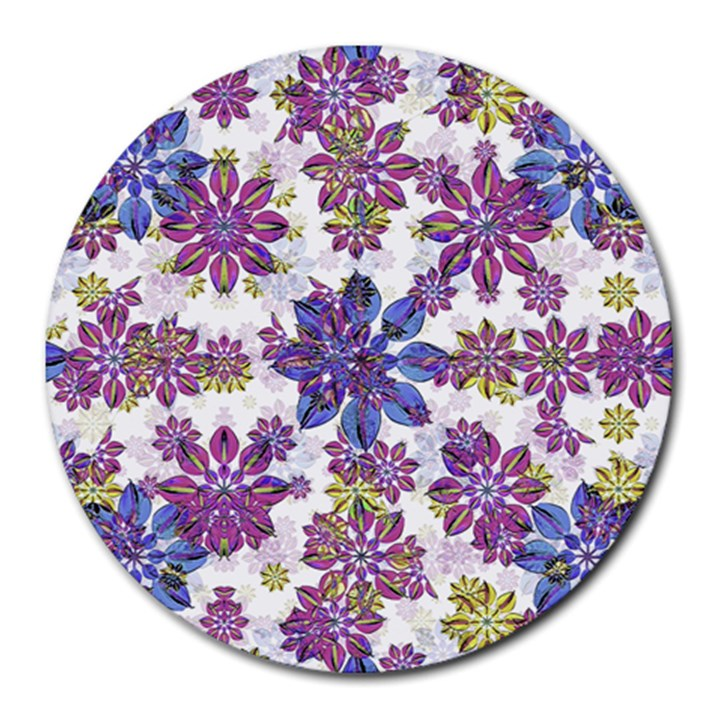 Stylized Floral Ornate Pattern Round Mousepads