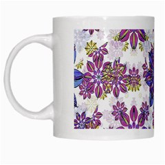 Stylized Floral Ornate Pattern White Mugs