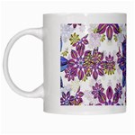 Stylized Floral Ornate Pattern White Mugs Left