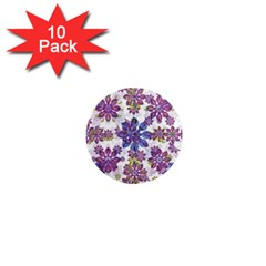 Stylized Floral Ornate Pattern 1  Mini Magnet (10 Pack)