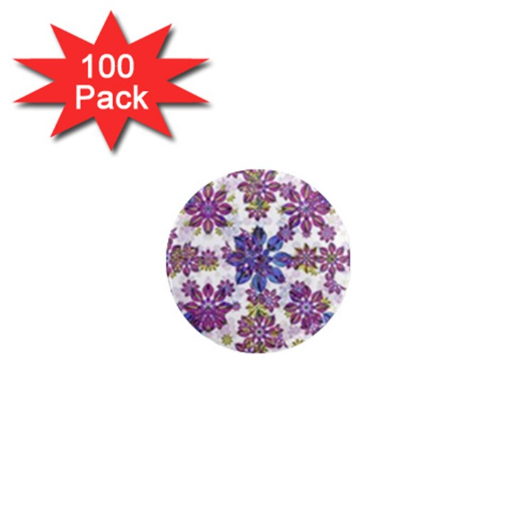Stylized Floral Ornate Pattern 1  Mini Magnets (100 pack)