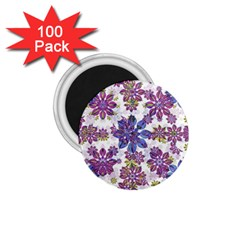 Stylized Floral Ornate Pattern 1 75  Magnets (100 Pack)